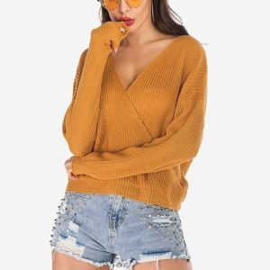 Wrap-length Knit Long Sleeve Sweater (Color:Yellow Size:XL)
