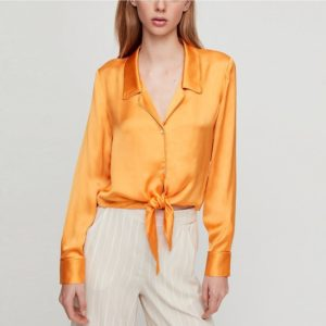 Women?Long-sleeved Slim Shirt (Color:Yellow Size:XL)