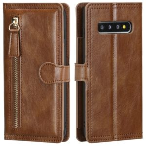 For Galaxy S10+ Retro Style Magnetic Buckle Zipper Horizontal Flip Leather Case with Card Slot & Wallet(Brown)