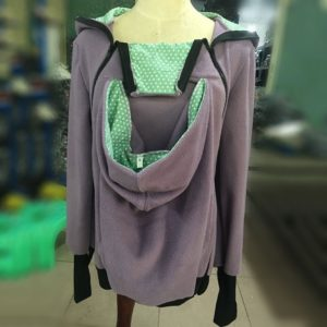 Three-in-one Multi-function Mother Kangaroo Zipper Hoodie Coat Size: S, Chest: 85-88cm, Waist: 65-67cm, Hip: 91-94cm (Light Purple+Green)