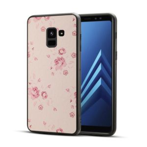 For Galaxy A8+ (2018) TPU + PC Pink Floral Printed Pattern Surface Anti-slip Protective Back Case