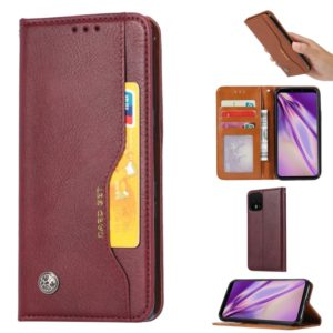 For Google Pixel 4 XL Knead Skin Texture Horizontal Flip Leather Case with Photo Frame & Holder & Card Slots & Wallet(Wine Red)