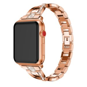 X-shaped Diamond-studded Solid Stainless Steel Wrist Strap Watch Band for Apple Watch Series 3 & 2 & 1 42mm(Rose Gold)