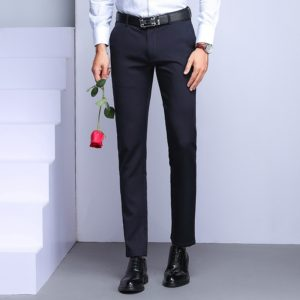 Spring Fall Straight Loose Black Business Casual Career is Sturdy Trousers, Size: 29(Blue)