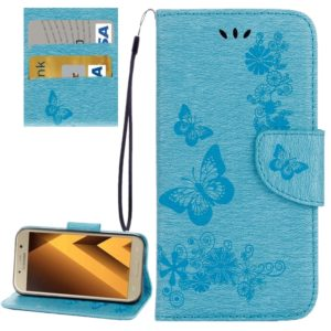 For Galaxy A7 (2017) / A720 Butterflies Embossing Horizontal Flip Leather Case with Holder & Card Slots & Wallet & Lanyard (Blue)