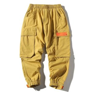 Loose Tooling Casual Pants Trousers for Men (Color:Deep Khaki Size:M)