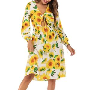 Sexy V-neck Lace-up Belly Long Sleeve Sun Flower Dress (Color:Yellow Size:XL)