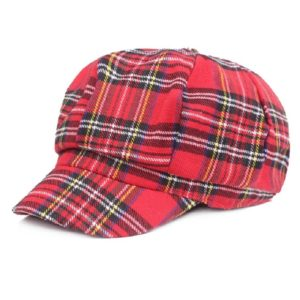Women Plaid Texture Cloth Fabric Painter Cap Shade Beret, Size:55-58cm(Red)