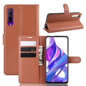 Litchi Texture Horizontal Flip Leather Case for Honor 9X / Honor 9X Pro , with Wallet & Holder & Card Slots(Brown)