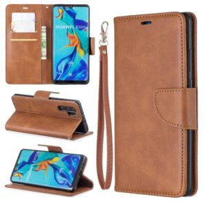 Retro Lambskin Texture Pure Color Horizontal Flip PU Leather Case for Huawei P30 Pro, with Holder & Card Slots & Wallet & Lanyard(Brown)
