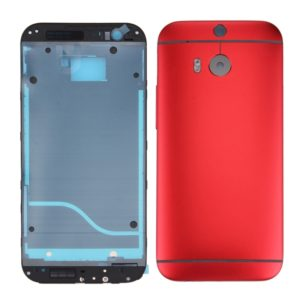 Full Housing Cover (Front Housing LCD Frame Bezel Plate + Back Cover) for HTC One M8(Red)