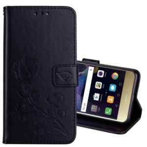 For Huawei P8 Lite 2017 Rose Embossed Horizontal Flip Environmental PU Leather Case with Holder & Card Slots & Wallet(Black)