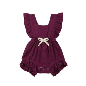 Baby Solid Color Sleeveless Ruffled Jumpsuit Back Strap Romper, Size:100cm(Wine Red)