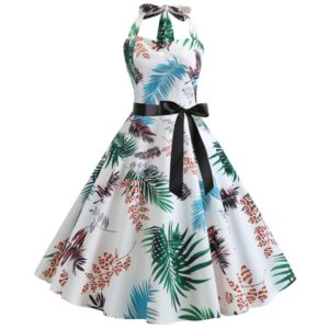 Fashion Halter Print Big Swing Dress (Color:White Size:XL)