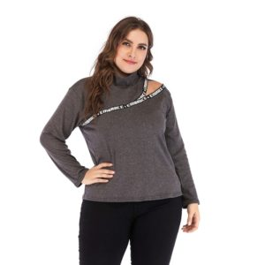 Plus Size Women Letter Ribbon High Collar Long Sleeve Blouse (Color:Dark Gray Size:XXXL)