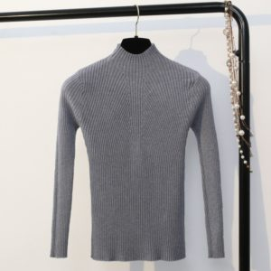 Autumn and Winter Half-high Collar Slim Solid Color Sweater, Size: One Size( Gray )
