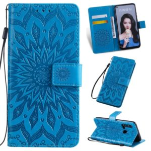 Pressed Printing Sunflower Pattern Horizontal Flip PU Leather Case for Huawei Nova 5i / P20 Lite (2019), with Holder & Card Slots & Wallet & Lanyard (Blue)