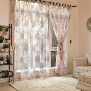 Sheer Tulle Curtains For Living Room Kitchen Blinds Drapes, Size:100x250cm String(Brown)