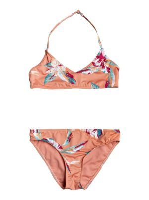 ROXY Μαγιό για κορίτσι Made For ROXY Bralette Bikini Set (ERGX203265- TERRA COTTA RG TROPIC CAL)