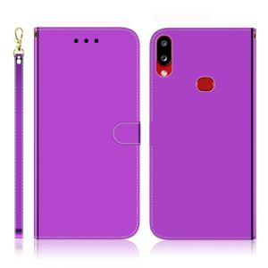 For Galaxy A10s Imitated Mirror Surface Horizontal Flip Leather Case with Holder & Card Slots & Wallet & Lanyard(Purple)