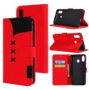 Fabric Stitching Embroidery Horizontal Flip Leather Case With Holder & Card Slots & Wallet for Galaxy M20(Red)