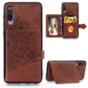 For Xiaomi Mi 9 SE Mandala Embossed Magnetic Cloth PU + TPU + PC Case with Holder & Card Slots & Wallet & Photo Frame & Strap(Brown)