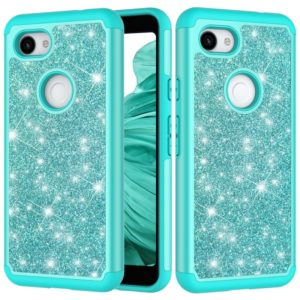 Glitter Powder Contrast Skin Shockproof Silicone + PC Protective Case for Google Pixel 3A XL (Green)