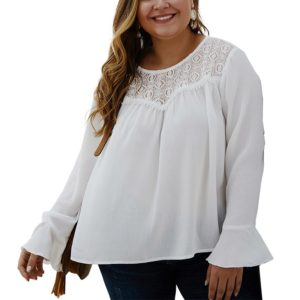 Fat Girl Chiffon Solid Color Shirt (Color:White Size:XXXXL)