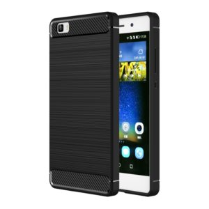 For Huawei P8 Lite Brushed Texture Fiber TPU Rugged Armor Protective Case(Black)