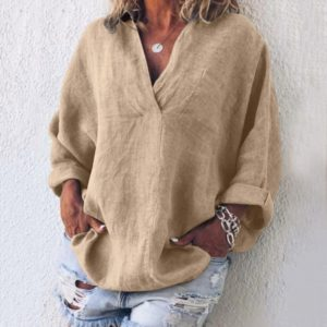 Thick Cotton and Long Sleeve Shirt (Color:Beige Size:L)
