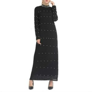 Sleek Minimalist Beaded Long Dress, Size:XXL(Black)