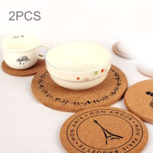 2 PCS Round Tower Pattern Cork Coasters Cup Cushion Holder Drink Cup Place Mat Coffee Coasters Wooden Holder Pad Cup Mat Round Cork Coaster, Size: 14.5*1cm