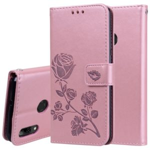Rose Embossed Horizontal Flip PU Leather Case for Huawei P Smart 2019, with Holder & Card Slots & Wallet (Rose Gold)