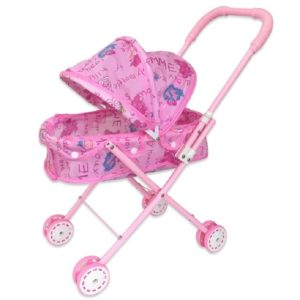 Children Doll House Toys Folded Canopy Iron Stroller