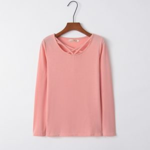 Cross Collar Long Sleeve Female T-shirt (Color:Pink Size:M)