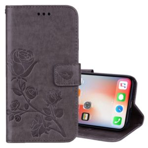 For iPhone X / XS Roses Pressed Flower Pattern Horizontal Flip Leather Case with Holder & Card Slots & Wallet (Grey)