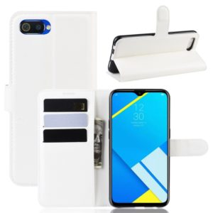 Litchi Texture Horizontal Flip Leather Case for OPPO Realme C2/OPPO A1K, with Wallet & Holder & Card Slots(white)