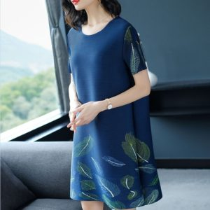 A Word Minimalist Fashion Loose Print Dress (Color:Navy Blue Size:One Size)