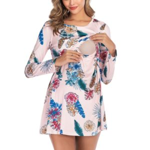 Digital Print Round Neck Long Sleeve Nursing Maternity Dress (Color:Pink Size:XL)