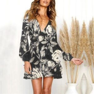 Sexy Print V-neck Floral Lacing Dress (Color:White Size:L)
