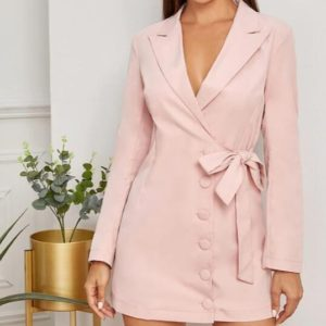 Fashion Simple Side Single-breasted Female Temperament Suit Dress (Color:Pink Size:L)