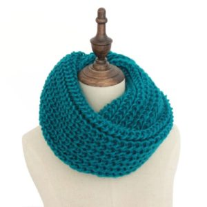 Autumn and Winter Knit Solid Color Thick Wool Thickened Warm Scarf(Blue-green)