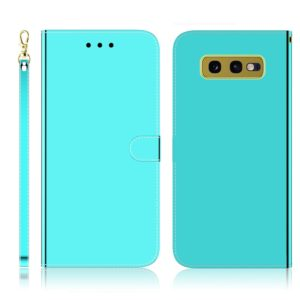 For Galaxy S10e Imitated Mirror Surface Horizontal Flip Leather Case with Holder & Card Slots & Wallet & Lanyard(Mint Green)