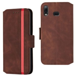 For Galaxy A10s Retro Frosted Oil Side Horizontal Flip Case with Holder & Card Slots(Wine Red)