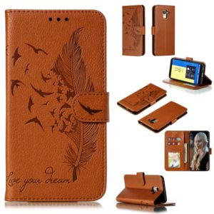 Feather Pattern Litchi Texture Horizontal Flip Leather Case with Wallet & Holder & Card Slots For Galaxy J6 (2018)(Brown)