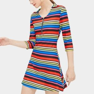 Rainbow Striped Printed Lapel Mid-Sleeve Dress (Color:As Show Size:M)