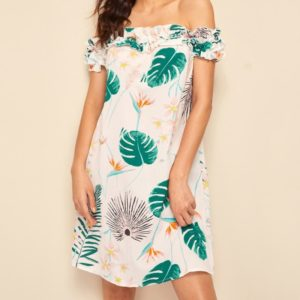 Plants Printing Boat Neck Strapless A-line Dress (Color:White Green Size:M)