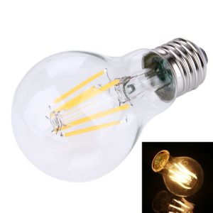 A60 E27 6W Warm White LED Filament Light Bulb , 6 LEDs 480 LM Retro Energy Saving Light for Halls, AC 85-265V
