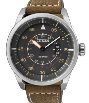 CITIZEN AW1360-12H Brown Leather Strap Black Dial