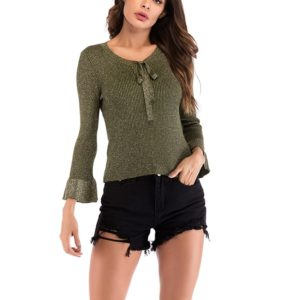 Autumn and Winter Solid Color Long-sleeved Pullover Sweater (Color:Green Size:M)
